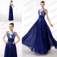 Wholesale Real Samples In Stock Prom Dresses Size Royal Blue Sheer Capped Sleeves Crew Applique Crystal Hollow Back Girls Pageant Gowns DN