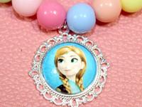 anny wholesale - 5 alot Chunky bubblegum lovely beads bottle cap frozen anny Elsa pandent necklace new arrival
