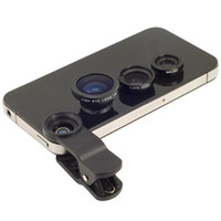 Universal   3 in 1 Universal Clip Lens Wide Lens + Macro Lens + 180 Fish Eye Lens For iPhone 4 4s 5 5s 5c all mobile phones Digital Camera