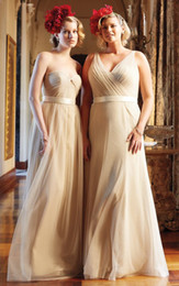 Wholesale Two Styles Champagne Plus Size Bridesmaid Dresses Maid of Honor Dress Sweetheart V Neck Ruched Tulle Cheap Bridesmaid Dresses with Belt