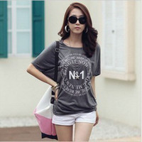 Wholesale 9031 fashion new Korean version of the new women s round neck bat sleeve printing loose short sleeved t shirt