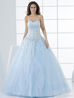 Sweetheart dress blue grace - 2014 New Arrivals Romantic Grace Light Sky Blue Ball Gown Sweetheart Quinceanera Dress Beaded Appliques Birthday Ball Gowns
