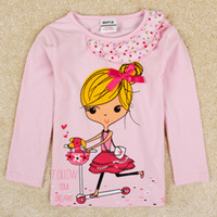 Girl Spring / Autumn Standard nova baby new design korean clothing 2014 autumn girls tops spandex fabric pink long sleeve sequin t-shirts infant girl clothes F5191
