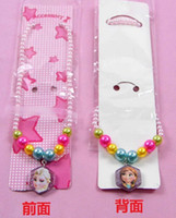 Wholesale Hot Set New arrive Frozen Anna Elsa bead Necklace with pendants charms Kid Jewelry Fine birthday gift