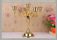 Wholesale 5 branch big candelabra gold and sliver table candlestick Plating alloy candlestick home decoration European style candelab