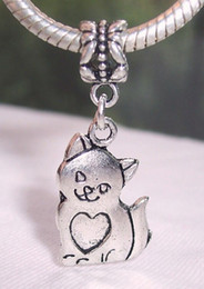 Wholesale Hot or Antique Silver Cat Kitten Pet Animal Heart Dangle Beads Fit Bracelet x14 mm z523