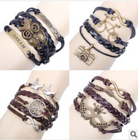 Wholesale European and American jewelry bracelet Leather Charm Bracelet hand woven bracelet trinkets vintage bracelet free shipp