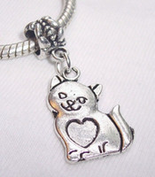Slides, Sliders antique kitten - Hot Sale or Antique Silver Cat Kitten Pet Animal Heart Dangle Beads Fit Bracelet x14 mm