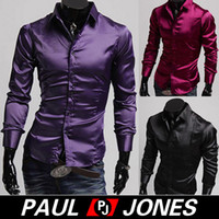 Casual Shirts Long Sleeve Silk-Like Satin Super COOL Men Slim Fit Silk-Like Satin Solid Long Sleeve Casual Shirts Tops For CL5250