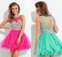 Heavy Beaded Embellished Hot Pink Tulle Homecoming Dresses 2...