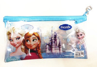 Wholesale pvc frozen pencil case bags elsa anna pvc pencil case frozen transparent pencil case small case pencil bag zipper stationery school supplies