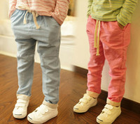 Wholesale 2014 autumn Linen fine fabric solid palin color kids bottoms children s casual pants boy s girl s Linen Flax material pants trousers unisex