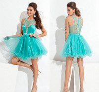 Turquoise Satin and Tulle Homecoming Dresses Sexy Plunging S...