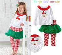 Wholesale Baby Girl Suits Top Dress Dot Lace Dress Princess Suits Kids Autumn White Cotton Suits Children Christmas Gifts Clothing FS DG7