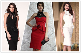 Wholesale Black White Red Peplum and Black Lace High Neck Pencil Midi Dress preppy dress vestidos dress long dress B4420