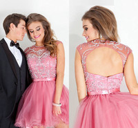 2014 Tulle Pink Homecoming Dresses Sheer Fashion Crew Neckli...