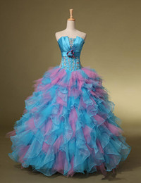 Wholesale New all sizes In Stock Prom Evening Gowns Ball Gown Quinceanera Dresses Lace Up Strapless Ruffles Beads
