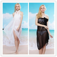 high white - Hot sale pareo Sheer Chiffon Sarong Beach Cover Up Bikini Wrap White Black high quality Cheapest Price B4371
