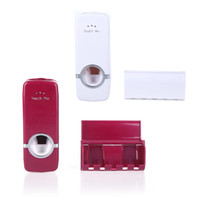 Wholesale Red Wall Mount Home Auto Toothpaste Dispenser Squeezer Toothbrush Holder Family Set H10011