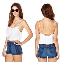 Wholesale Women s Sexy Spaghetti Strap Crop Tops Vest Shirt Blouse Girls Tank Top Backless Camis