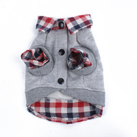 Wholesale 2014 New Dog Grid Sweater Puppy Warm Coat T Shirt Pet Clothes POLO Shirt Dog Apparel