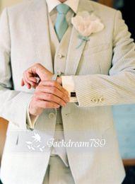 Wholesale Handsome lvory custom made wedding suits for men Groom Groomsmen Tuxedos mens wedding suits Jacket Pant Vest Tie