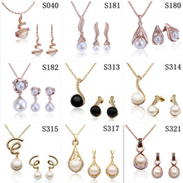 New Style Mixed orders Fashion plated 18K gold pearl necklace & earring fashion Women girls Jewelry Sets Hot free shipping 9set lot