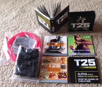 Cheap Fitness Supplies Focus T25 DVD Workout Set Shaun T's Crazy Body Exercise Fitness Video High Definition With Resistance Band 10 DVDs DHL