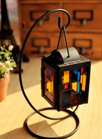 Wholesale 2015new brand candle stand black candlestick hanging candle metal and glass lighthouse of home decoration