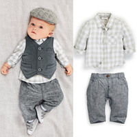 Wholesale 2014 Baby Boys Suits Shirt Vest pants Plaid Suits Kids Autumn Cotton Suits Children Fashion Clothing FS DG11