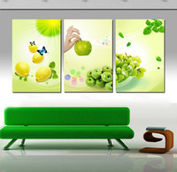 Printed Modern Scenery Free shipping 3 Panels Huge Modern kitchen fruit Decorative Canvas Painting Living Room Paint Picture Print Wall Hanging Art