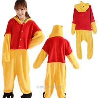 Cheap Couple's Cartoon Bear Coral Fleece Cosplay Costume Anime Character Pajamas Sleepwear WJJ0017