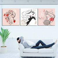 Printed Modern Flower 3 pieces printed modern naked woman decorative painting picture no frame oil paintings wedding gift home accessories