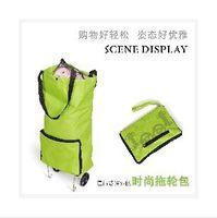 Folding Plain Nylon 2014 Folding Wheeled Shopping Luggage Trolley Bag LJJC37 100 pcs