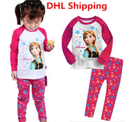 Wholesale DHL Free Hot Frozen Princess Anna Elsa Cartoon Pajamas Set Kids Cotton Long Sleeve Tshirt Pants Tracksuit Cute Baby Girls Sleepwear Outfits