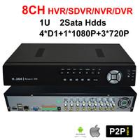 Wholesale 1U CH hdds Network Digital Hybrid Video Record Recorder SDVR HVR NVR DVR H D1 P P Onvif P2P Cloud for security