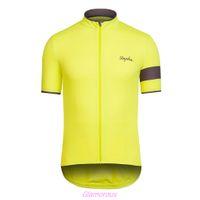 Wholesale 2014 Rapha Pro Team Cycling T shirt Stylish Streamlined Men Bike Clothing Polyester Bike Jersey Short Sleeve Yellow Logo Racing Shirt