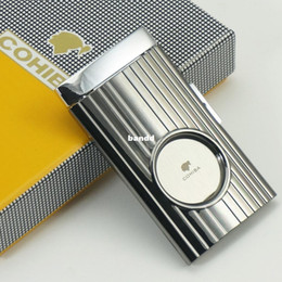 Wholesale COHIBA Champagne Vertical Stripes Switch Blade Stainless Steel Cigar Cutter