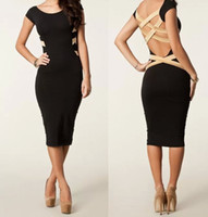 Casual Dresses Round Knee Length Women's Dress Kim Kardashian Styled Bandage Dresses Black Color 16