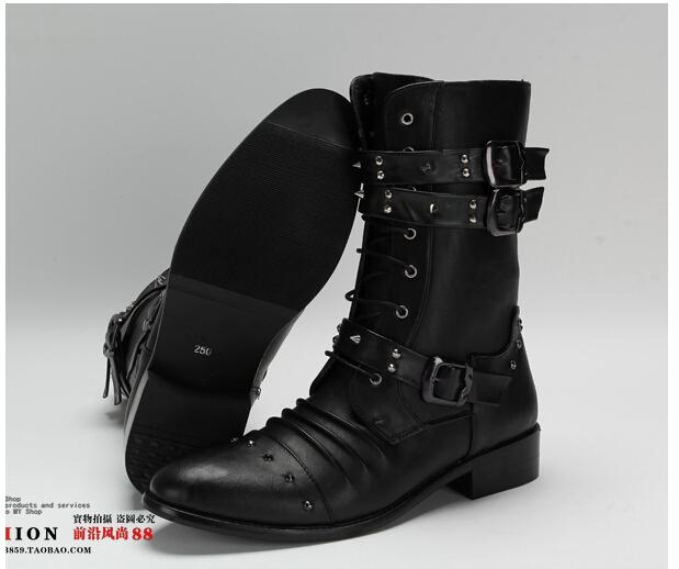 Men'S High Top Shoes,Mid Calf Boot,Black Punk Rivets Buckles Pu ...
