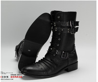 Half Boots Martin Boots Men Men's High-Top Shoes,Mid-Calf Boot,Black Punk Rivets Buckles PU Leather Lace-Up Side Zipper Army Combat Martin Boots