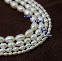 Wholesale 15 quot Grade A High Quality Natural Rice Cultured freshwater Pearl Loose Beads mm White Colour U Pick Size Jewelry amp DIY Accessories