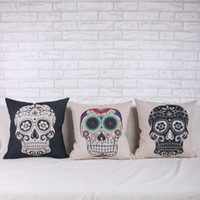other PU Foam Square personality linen skull pillow cover sofa cushion cover bedding pillow case home decorative items gift