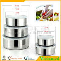 Bedding airtight food container - 5 Stainless Steel Food Storage Containers Box Mixing Bowls w Airtight lids Preserving Box Dropshipping