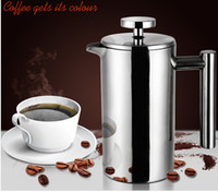 Metal coffee filter - Coffee pot stainless steel coffee pot cylindrical fashion French press pot method coffee pot thickening teapot