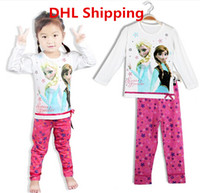 Wholesale DHL Free Girls Cotton FROZEN Pajamas Children Cartoon Long Sleeve Tshirts Pants Set Underwear Kids Homewear Clothing Tracksuit Outfit