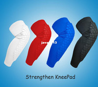Elbow & Knee Pads Black Adult Wholesale-407-1PAIR 2 PCS Strengthen Kneepad Honeycomb Pad Crashproof Antislip Basketball Leg Knee Long Sleeve