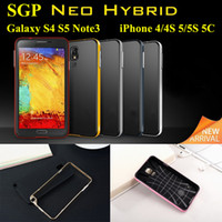 Wholesale With retail Package SGP Neo Hybrid EX Soft Bumper Frame Case Dual Layer Cover for iPhone S S C Galaxy S4 S5 Note3