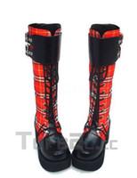 Wholesale 3 High Heel Platform Red Shepherd Check Pu Lolita Boots lolita shoes