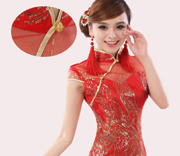 Wholesale Hot Sale New Sexy Chinese Dresses Red Bride Vintage Wedding Dress High Collar Floor Length Capped Short Sleeve Gown with Sequins